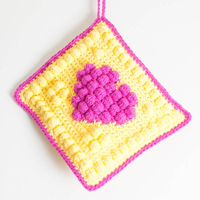 Crochet Bobble Heart Potholder Sew Simmer And Share